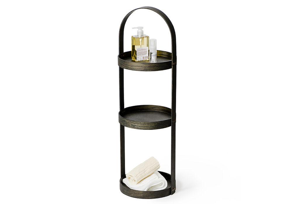 3 tier bathroom storage caddy - dark oak