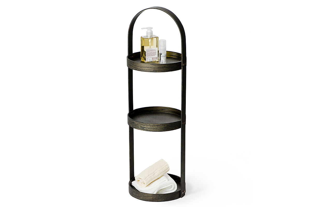 3 tier bathroom storage caddy - dark oak
