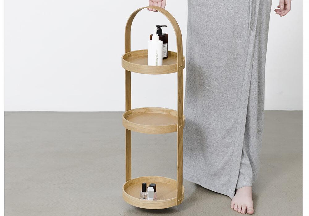 3 tier bathroom storage caddy - natural oak