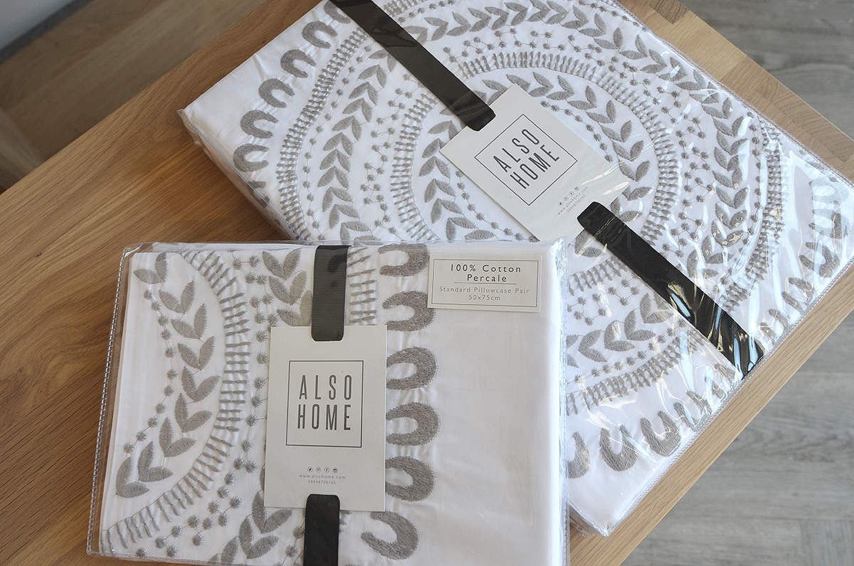 cloud grey embroidered cotton bedding