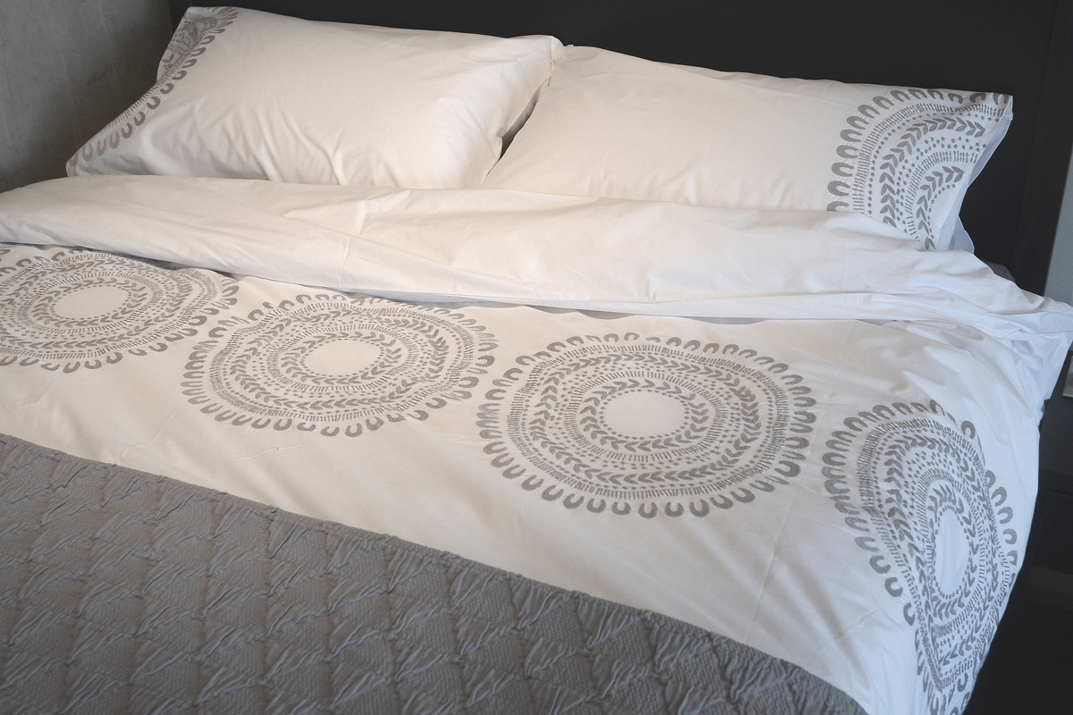 Cloud Grey | Embroidered Cotton Bedding | Natural Bed Co