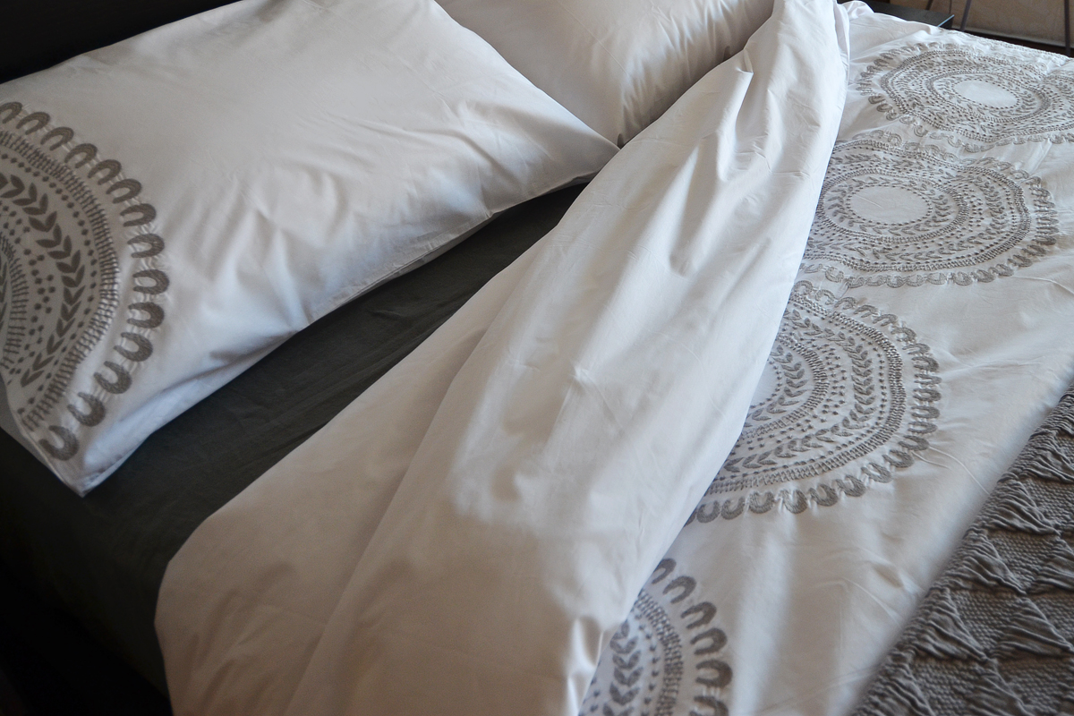 Cloud Grey Embroidered Cotton Bedding Natural Bed Co