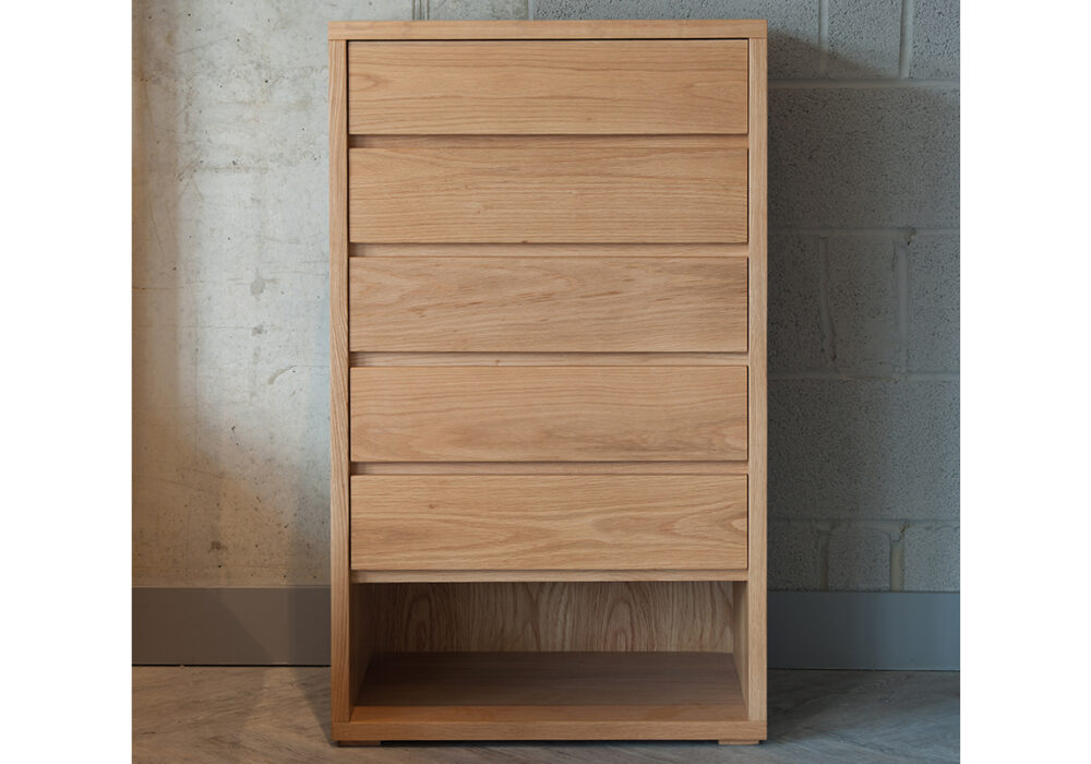 Cube 5 drawer tallboy chest of drawers in Oak wood
