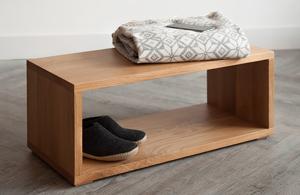 Open shelf table or bench by Black Lotus comes in Oak or Walnut wood