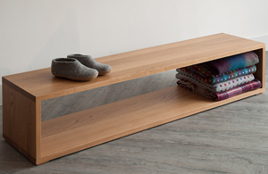 Black Lotus end of bed storage bench in Oak exclusively for Natural Bed Company