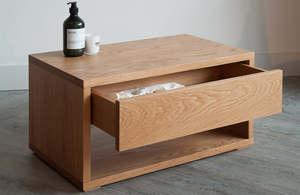Contemporary Oak bedroom furniture - 1 drawer bedside Cube table