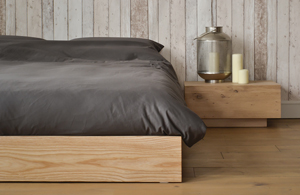 Ki low wooden platform bed in Ash with Madra bedside table