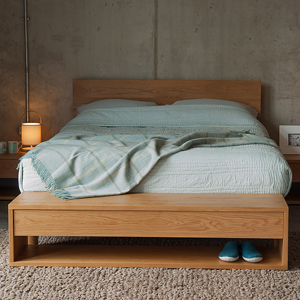 Oak end of bed storage bench by Black Lotus shown with our Oak Malabar bed