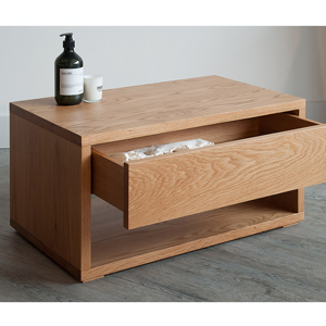 Our Black Lotus Low Bedside Table with drawer in Oak