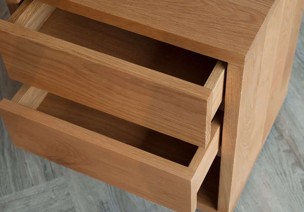 black lotus 2-drawer bedside open