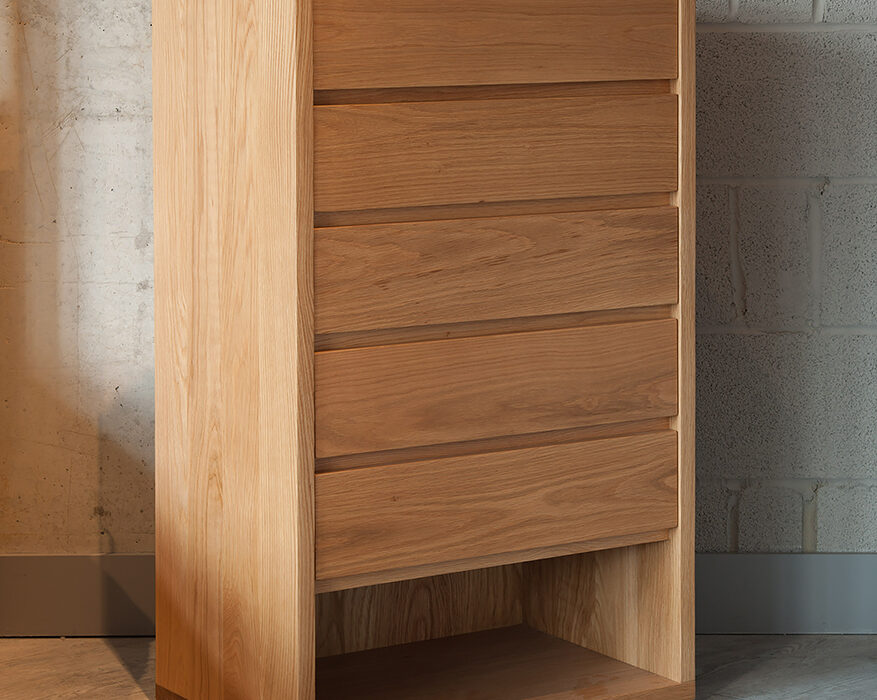 An Oak Tallboy with 5 drawers by Black Lotus for Natural Bed Company