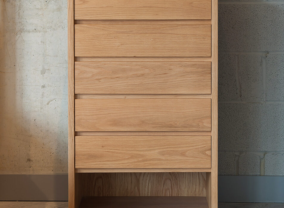Exclusive to NBC Black Lotus Cube 5-drawer chest of drawers in Oak