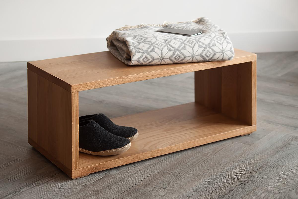 Open shelf Cube low bedside table in Oak