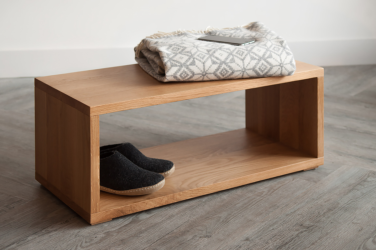 Cube Small Oak Bench Natural Bed Company