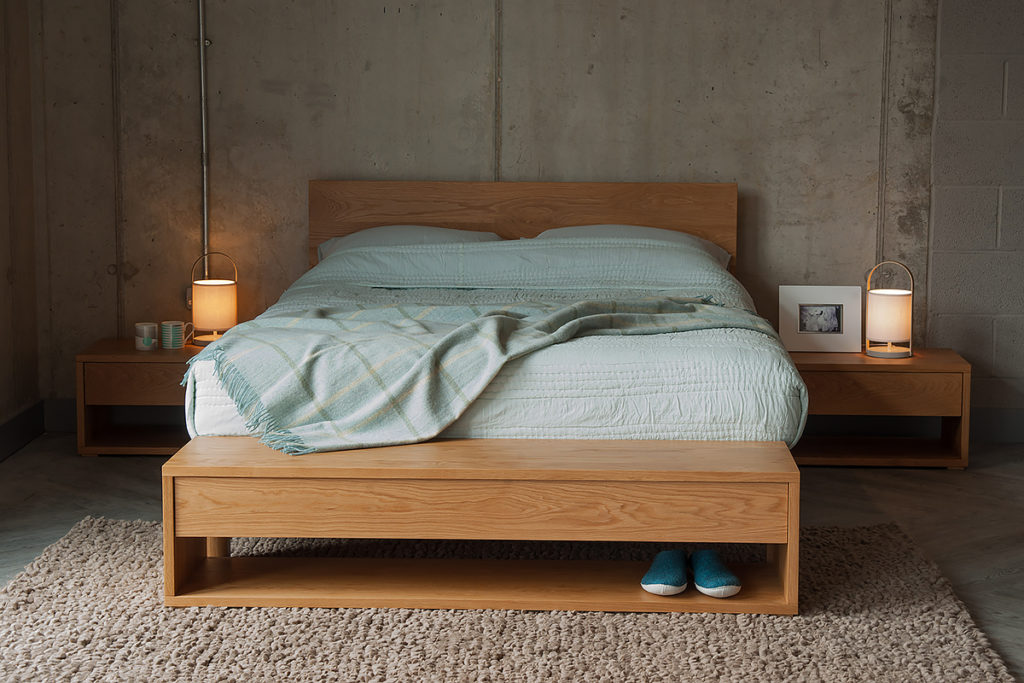 Black Lotus Cube one drawer collection of bedroom storage tables in Oak.