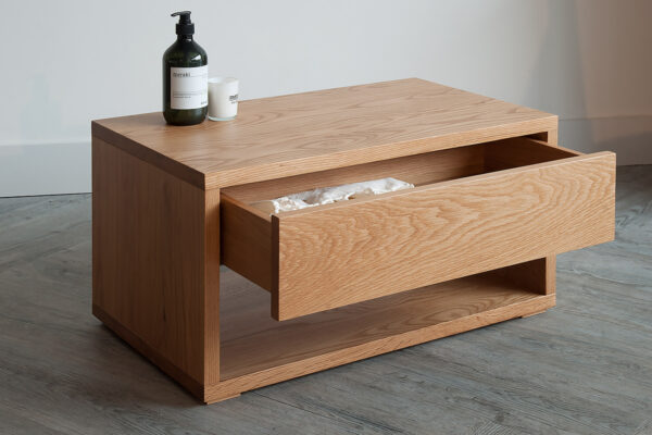Cube low Bedside table with drawer open and made in Oak