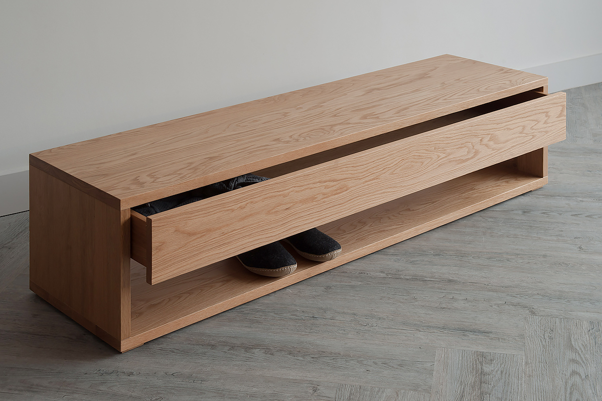 Black Lotus Cube end-of-bed storage bench or media table with drawer and in Oak