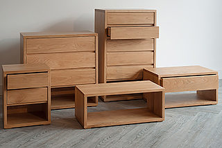 Our Black Lotus Cube collection of bedroom furniture in solid oak