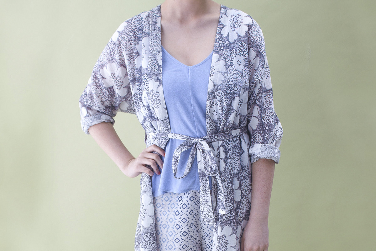 long cotton robe - grey floral print