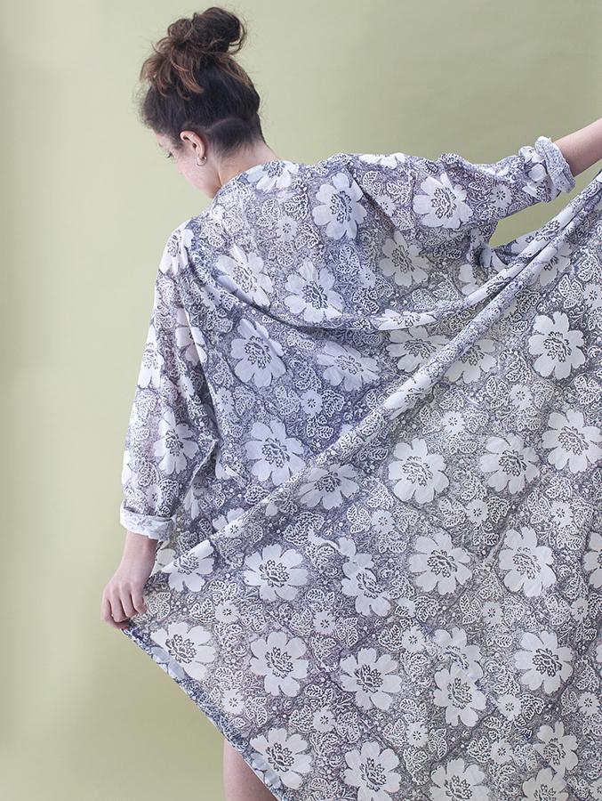 long cotton robe - grey floral print