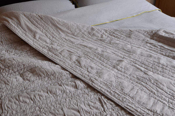 pale grey ruched bedspread