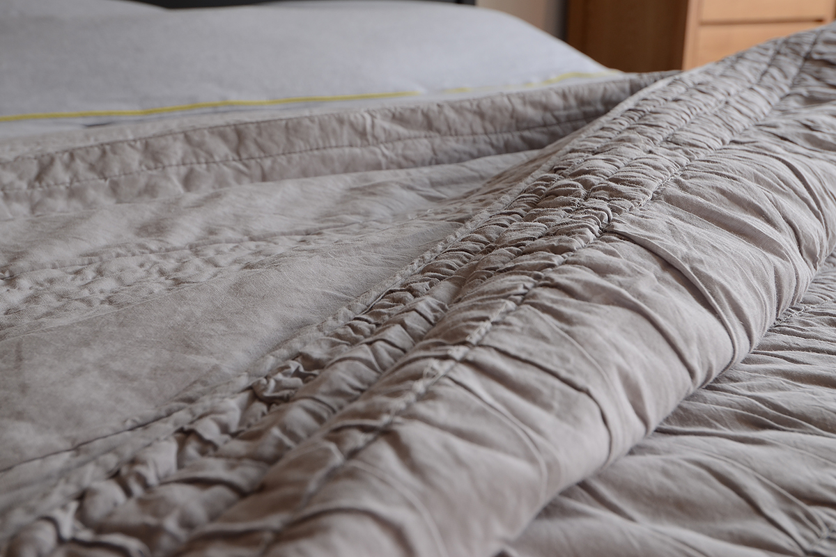 Grey Ruched Bedspread Bedding Natural Bed Company