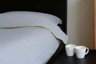 grey & lime brushed cotton bedding