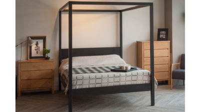 Contemporary solid wooden 4 poster bed the Orchid in a Scandi style bedroom