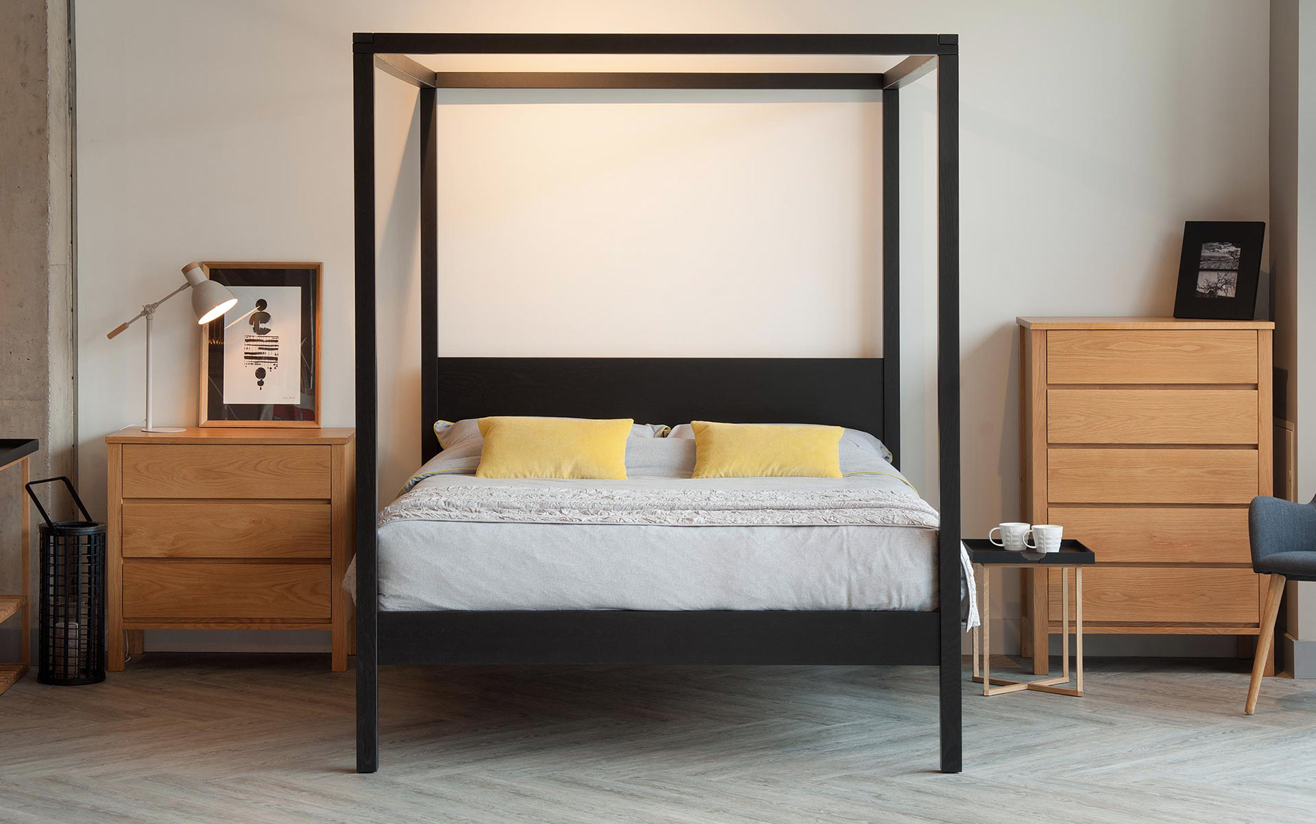 A modern 4 Poster bed the Orchid, hand crafted in Britain from a choice of timbers and in a range of sizes