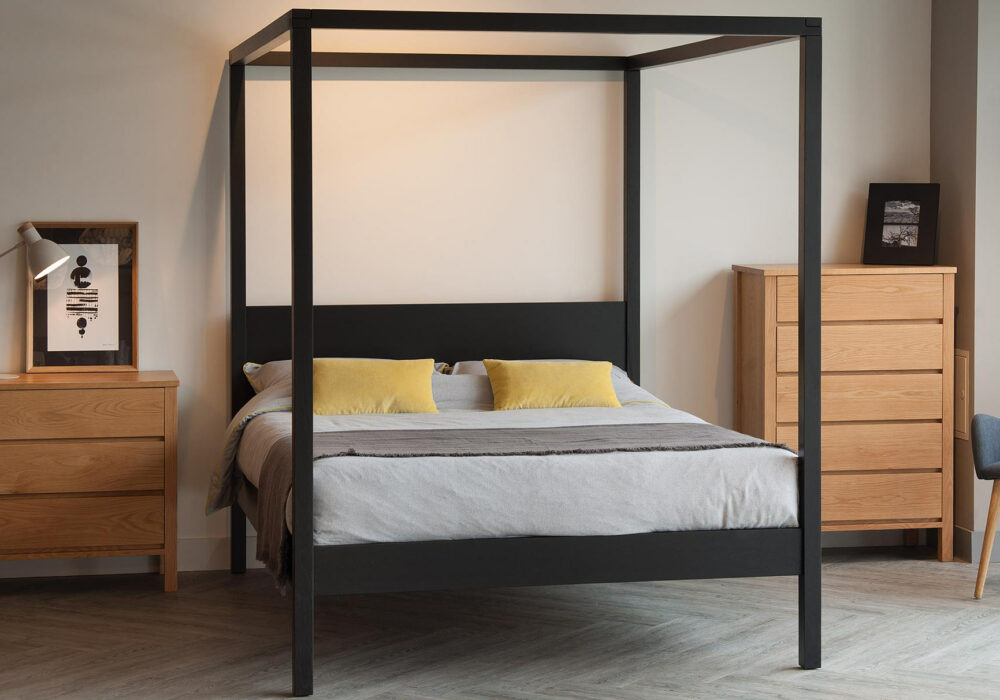 For a graphic look - our hand-made Orchid wooden four poster bed is shown here made from black painted Oak