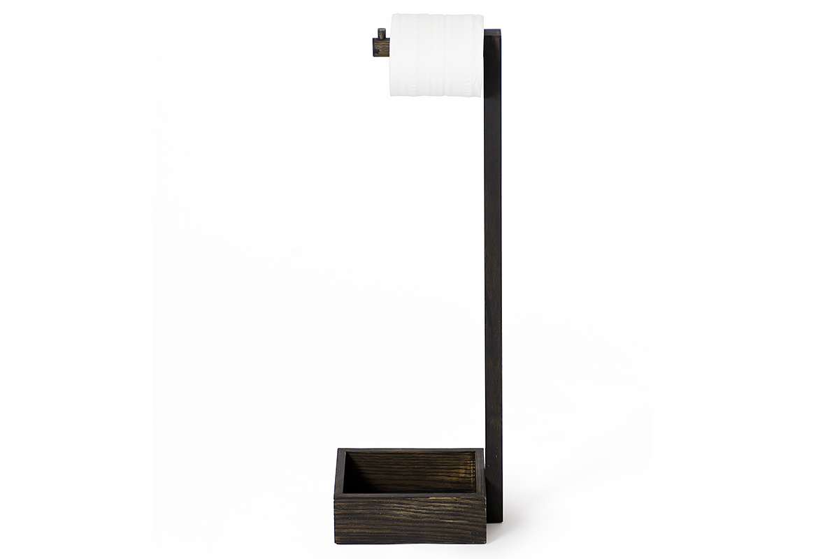 wireworks dark oak freestanding roll holder mezza side