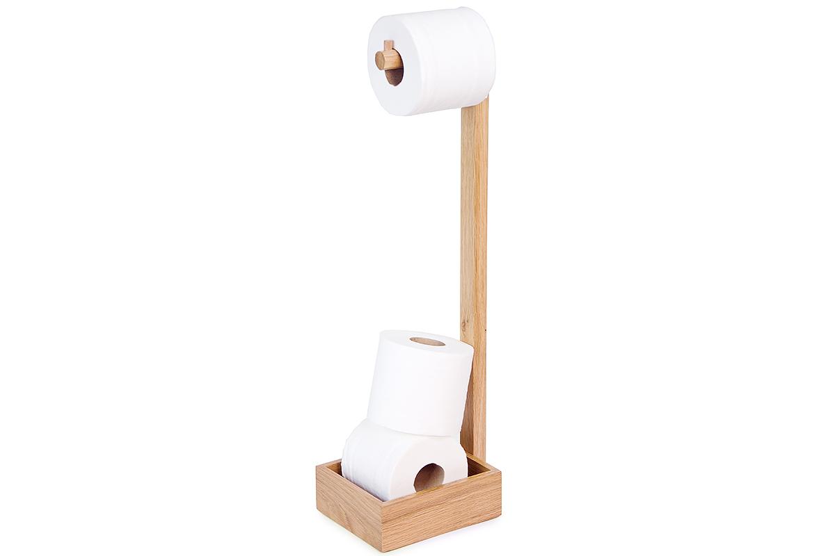 Freestanding Toilet Roll Holder Solid Oak Natural Bed