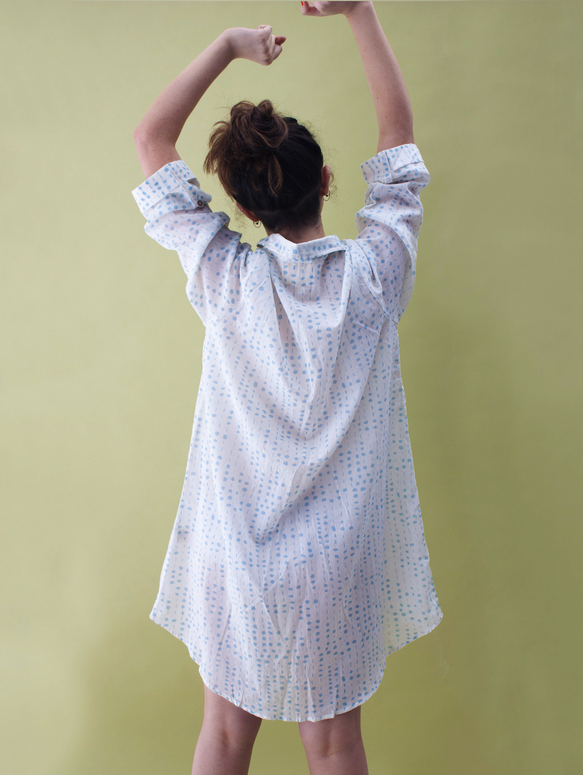 soft cotton nightshirt - aqua dots