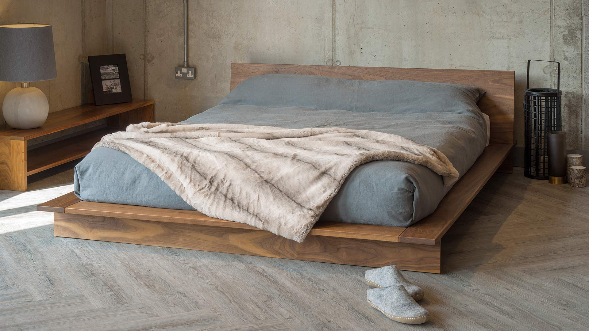 Contemporary low platform style Oregon bed hand made in Britain