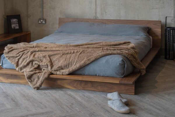 low platform style solid wooden bed - The Oregon - great for rooms with low ceilings