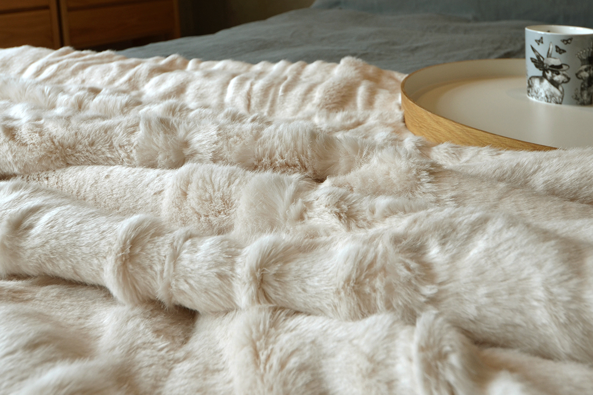 Polar Bear Cream Faux Fur Throw Natural Bed Company