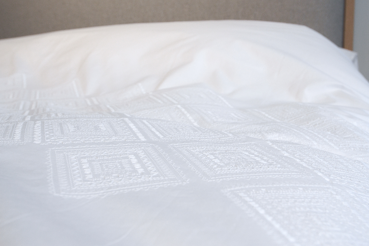 White Cotton Embroidered Bedding Natural Bed Company