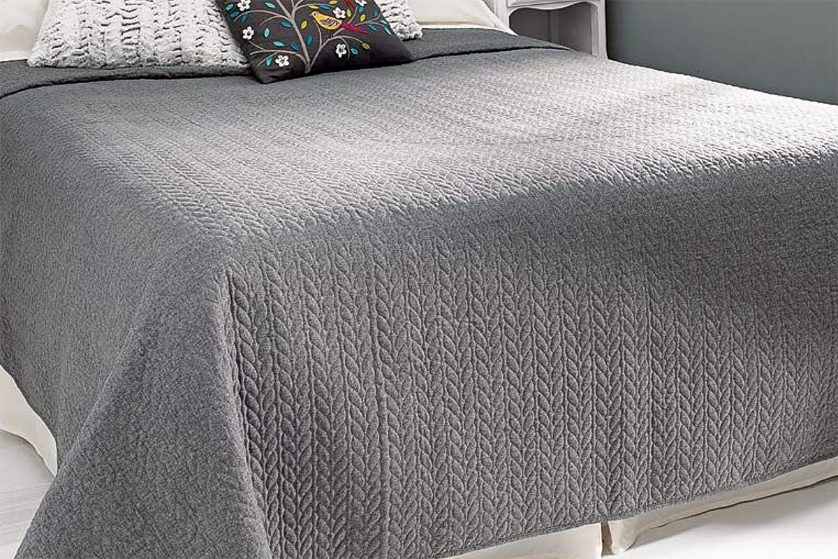 Anja Contemporary Grey Bedspread Natural Bed Company