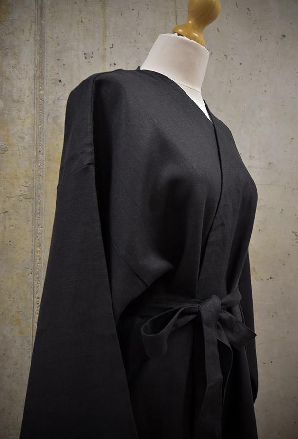 Linen kimono robe - black