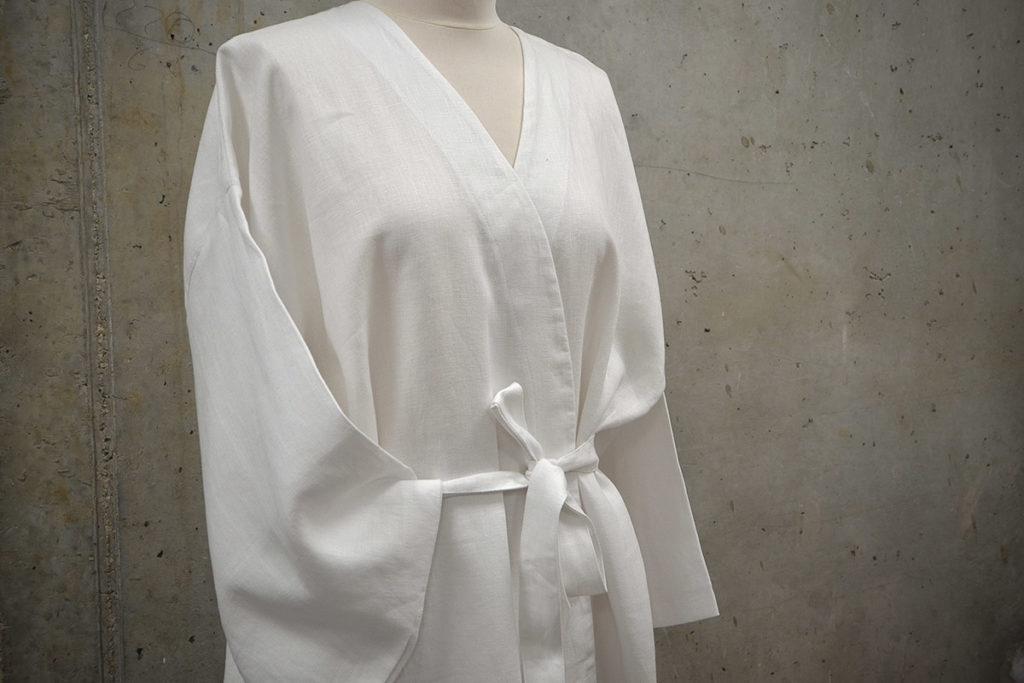 Luxury white linen kimono robe