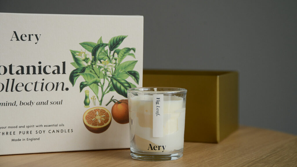 set of 3 botanical scented candles in a gift box
