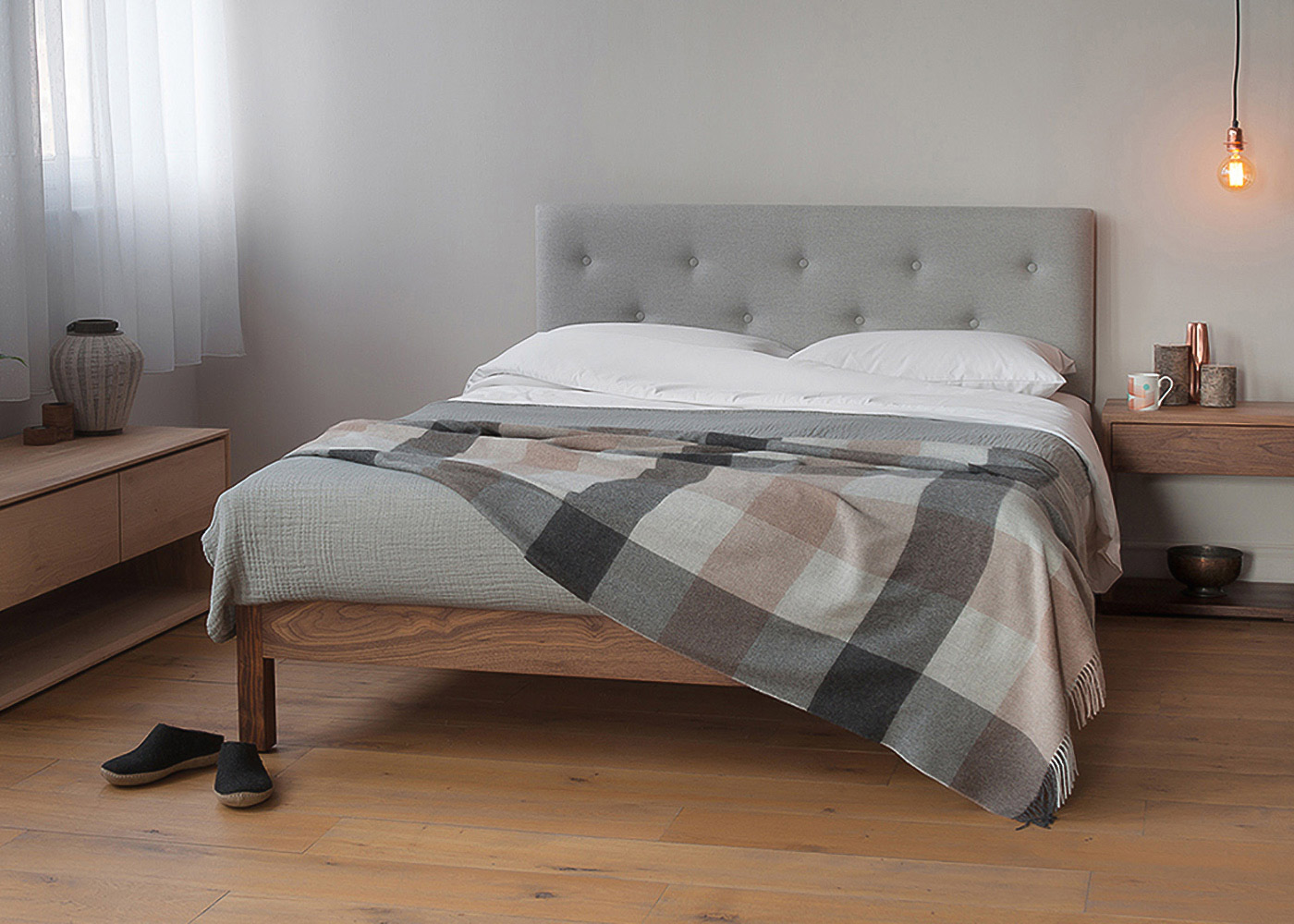 Arran contemporary upholstered headboard bed - Scandinavian Inspired bedroom