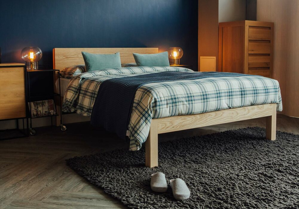 Contemporary solid wood Tibet bed in Ash