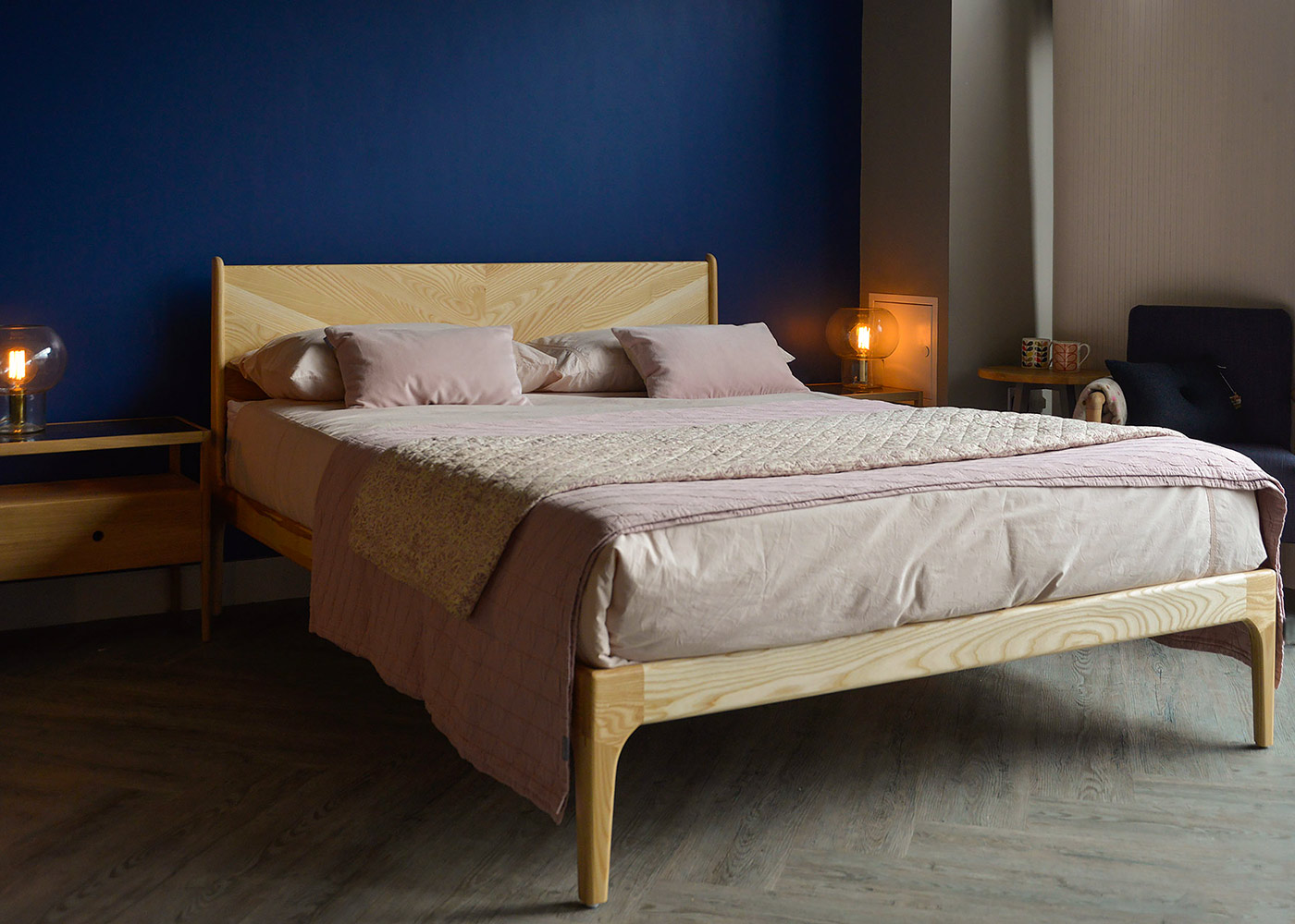 Solid wooden Hoxton bed, hand made in Britain and available to order in a choice of woods and bed sizes.