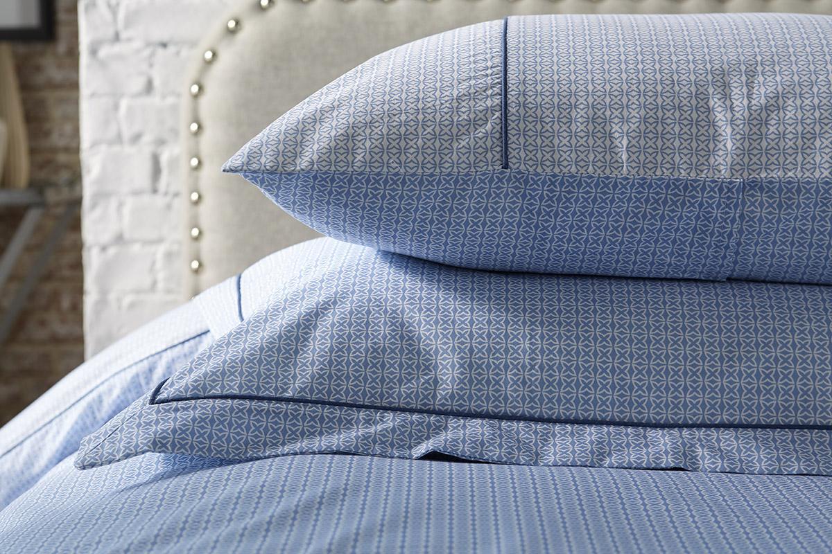 Astral - blue printed cotton duvet sets