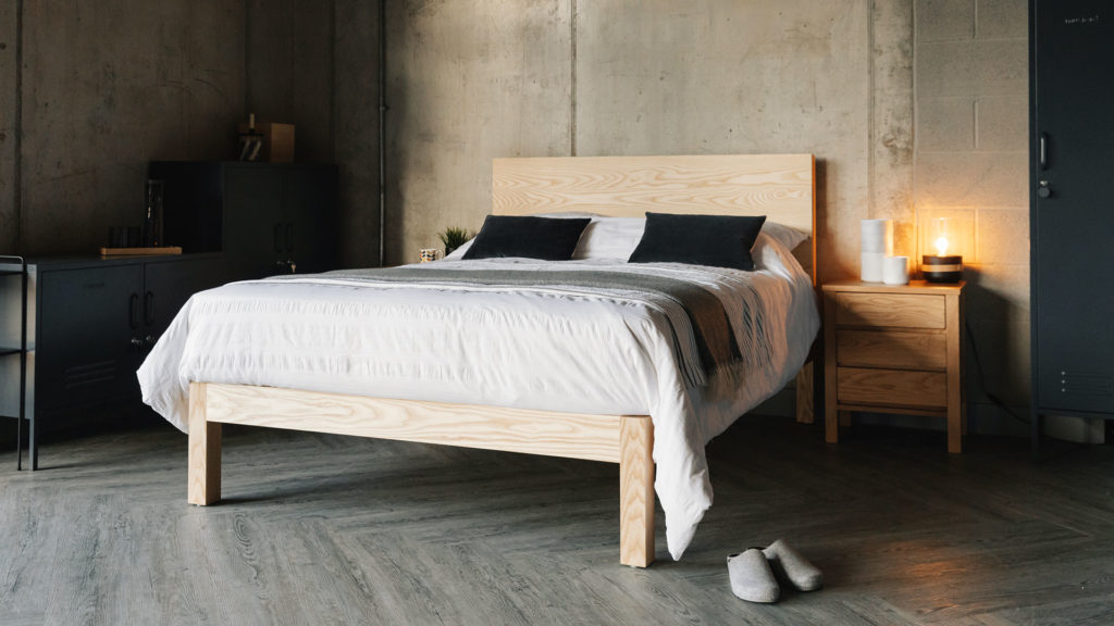 Bamford bed a chunky taller solid wood bed, here in Ash