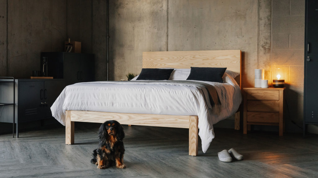 solid wood bed in ash