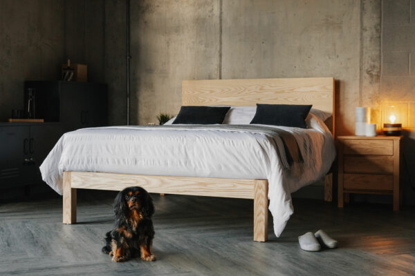 The Bamford solid wood bed is available in a range of sizes and a choice of wood, here shown in Ash