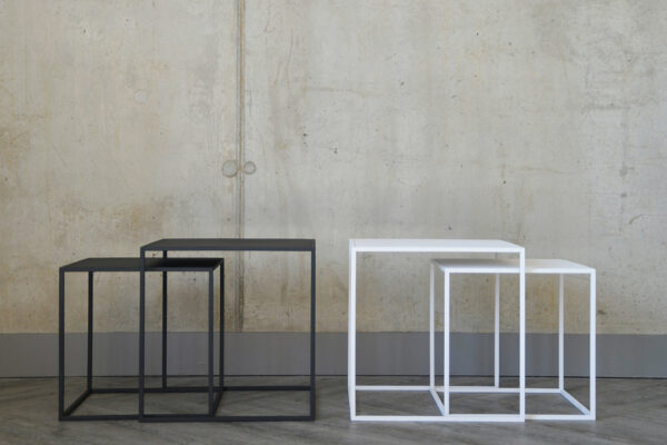 powder-coated steel nesting tables in slate grey and white