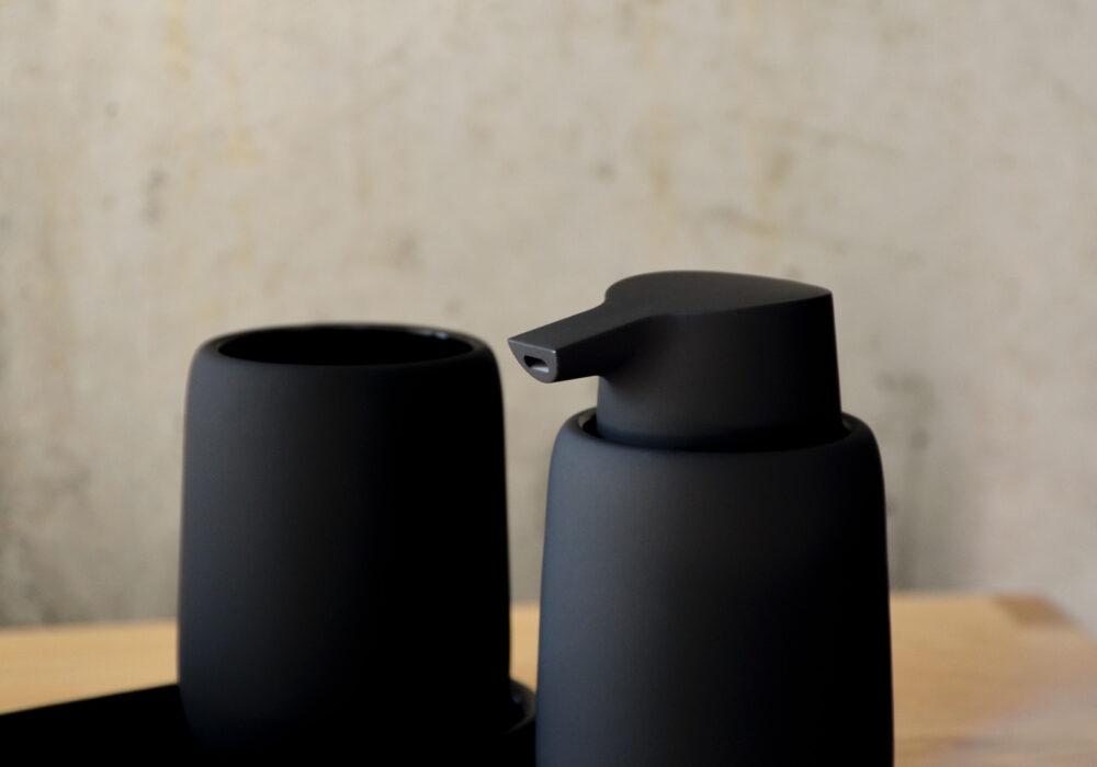 Matt Black bathroom soap dispenser and matching tumbler